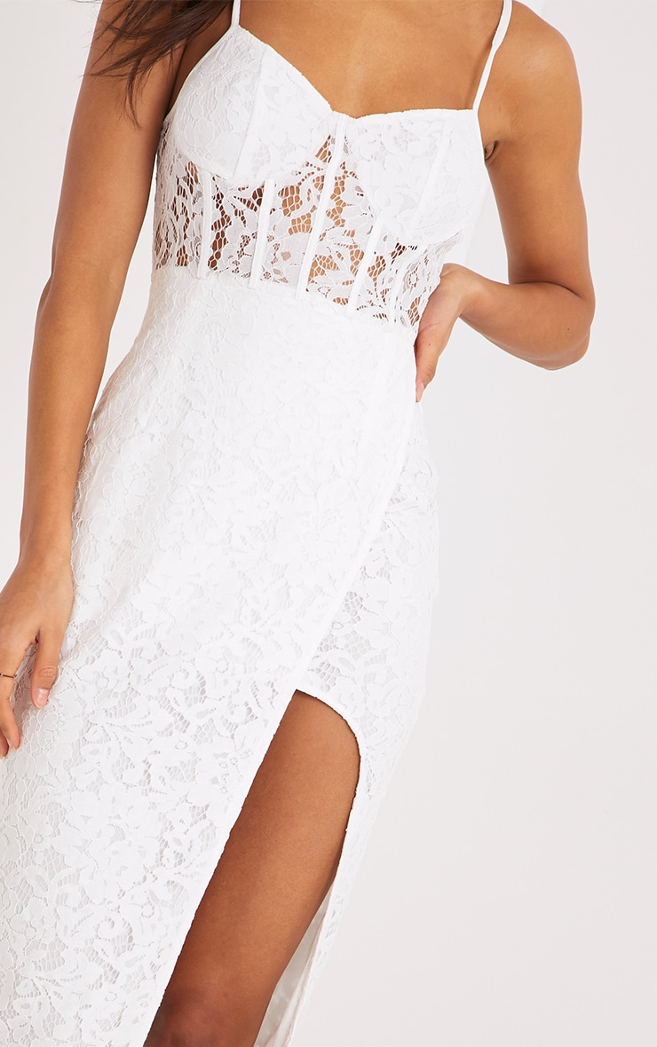 Brielle White Strappy Lace Wrap Over Midi Dress  5