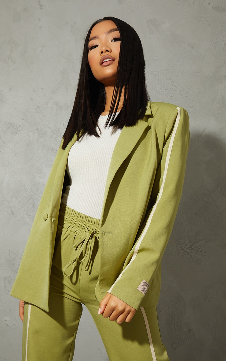 Petite Green Oversized Stripe Detail Blazer