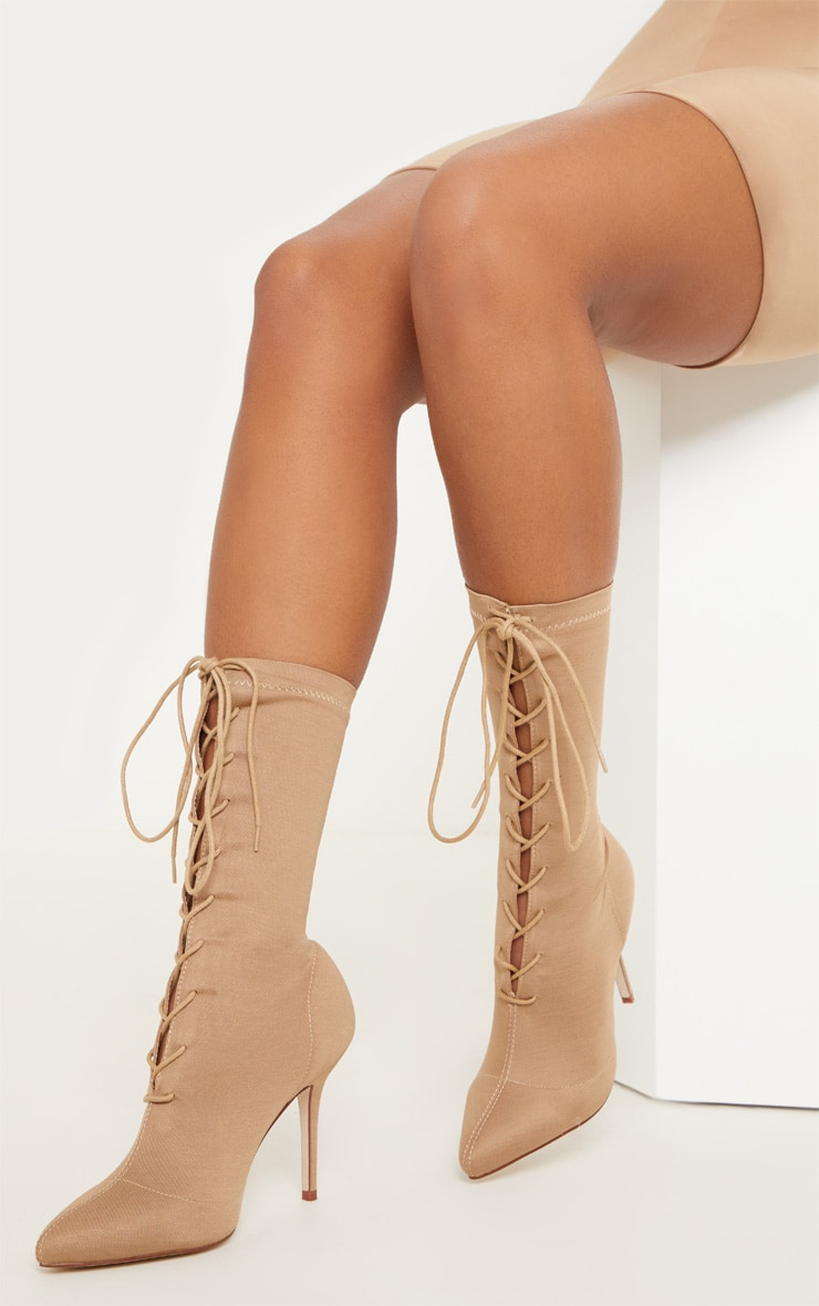 Nude Mid Heel Lace Up Ankle Boot  1