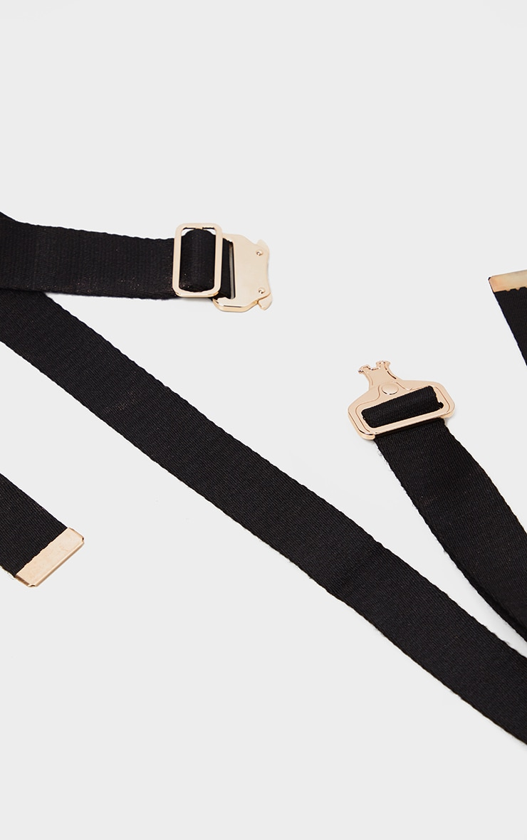 Black Woven Gold Buckle Tape Belt 2