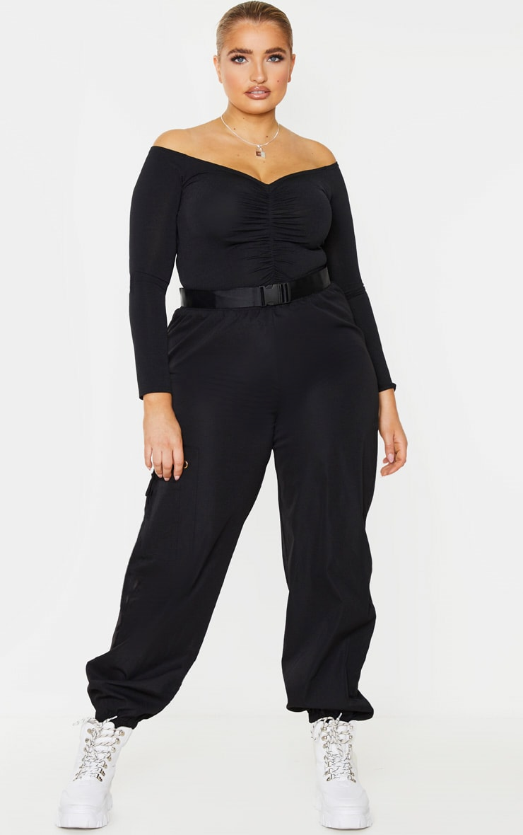 Plus Black Slinky Ruched Front Long Sleeve Crop Top 3