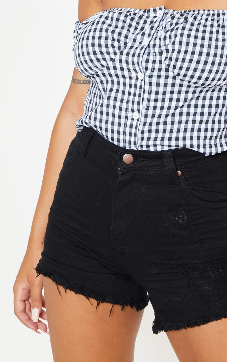 Petite Black High Waist Frayed Hem Distressed Denim Shorts 6