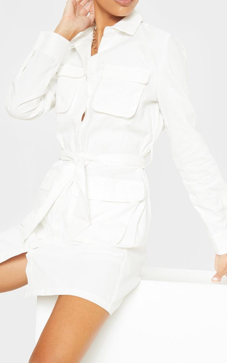 Tall White Utility Tie Waist Shirt Dress 6