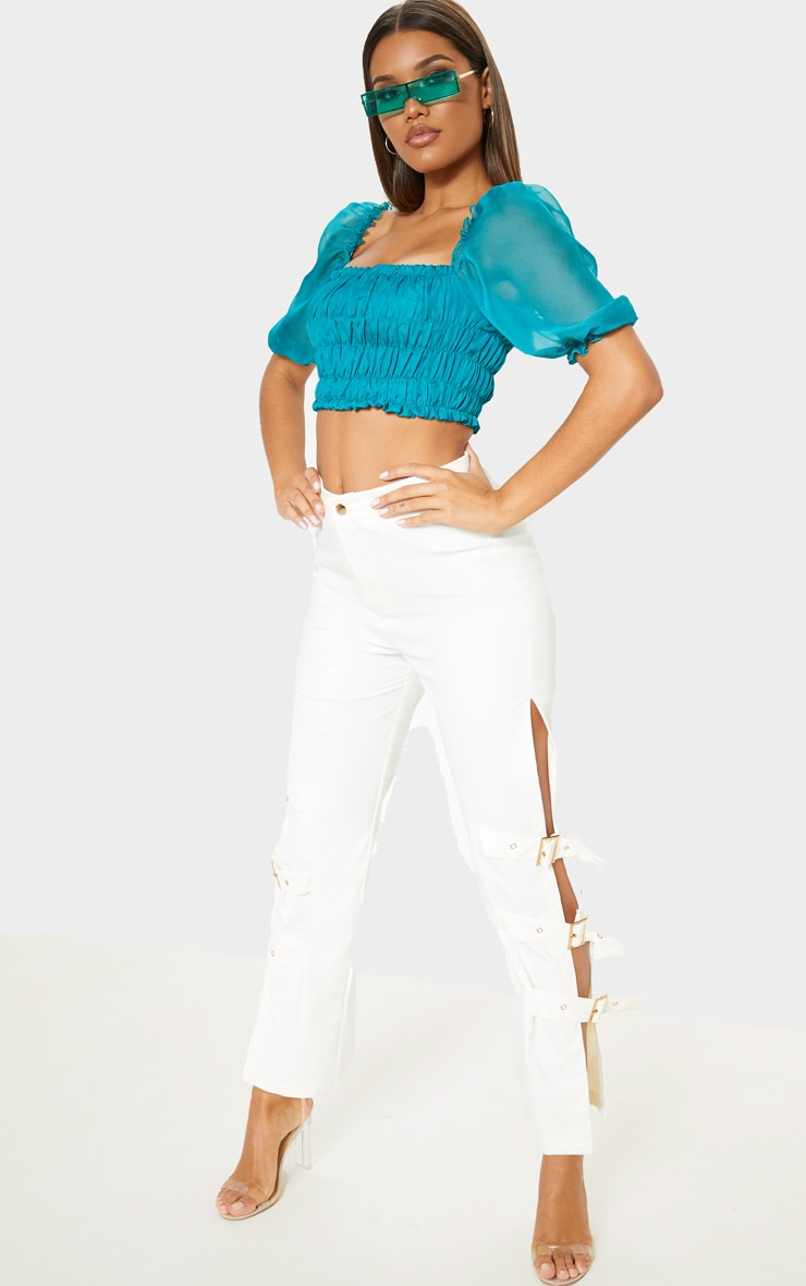 Teal Shirred Chiffon Crop Top 1