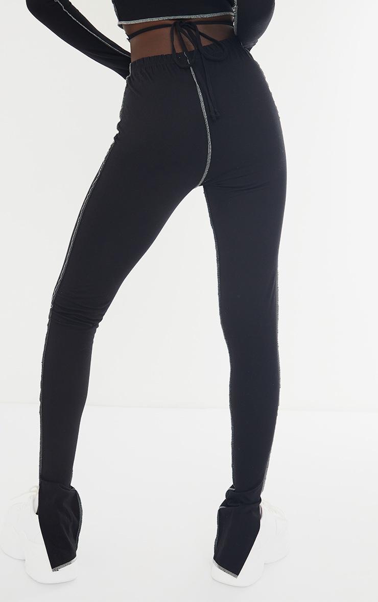 Tall Black Contrast Seam Split Hem Pants 3