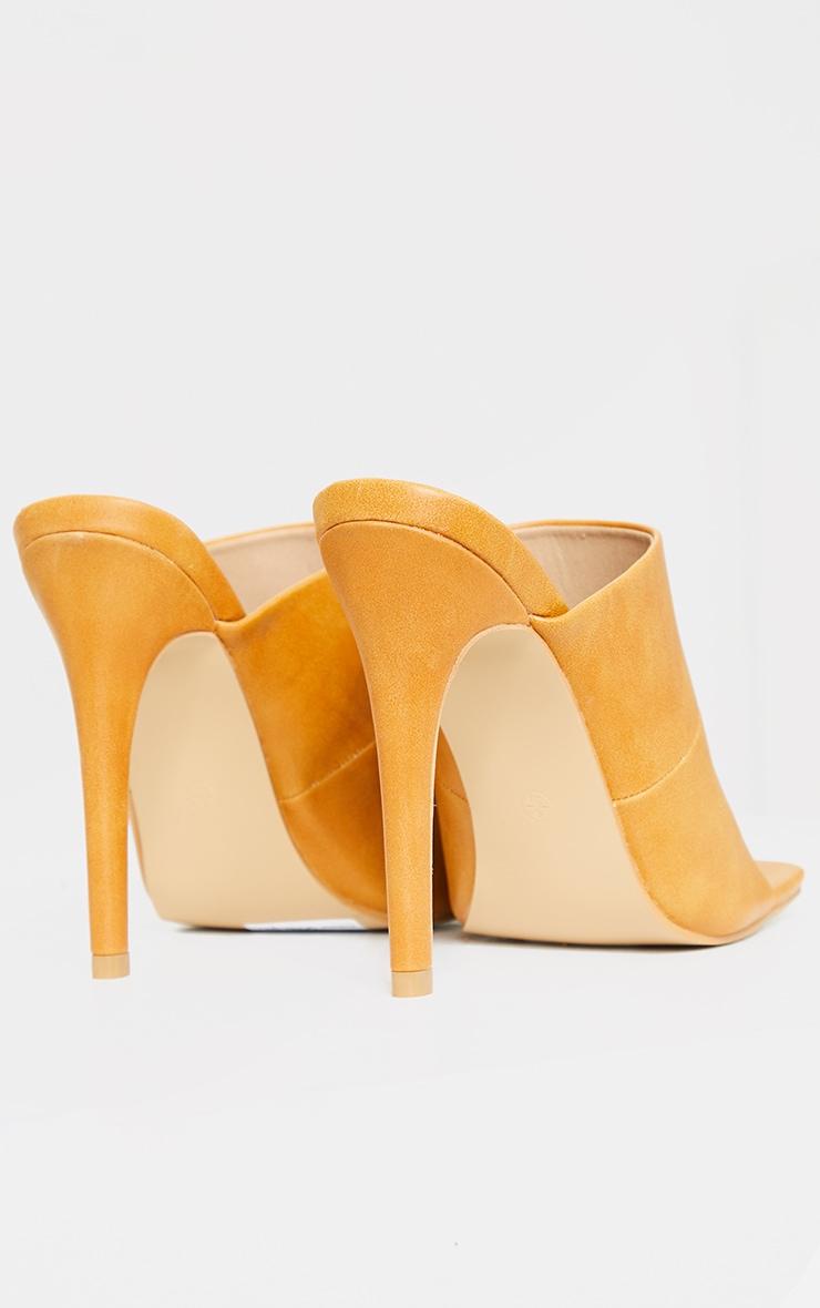 Sand Square Toe High Mule Heels 4