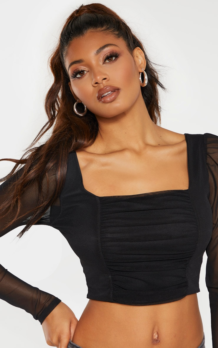 Tall Black Square Neck Mesh Ruched Long Sleeve Crop Top 5