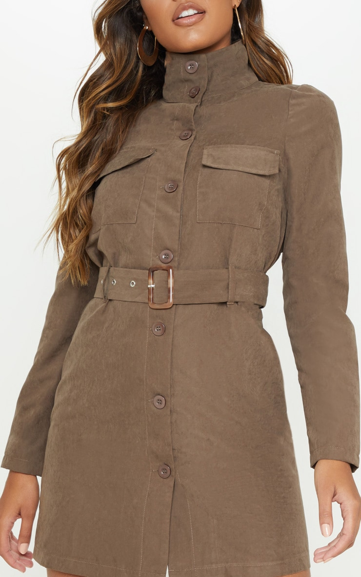 Chocolate Faux Suede Button Front Belted Cargo Dress 5