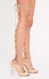 a382319ed4d9 Colleen Nude Thigh High Lace Up Heeled Sandals image 3