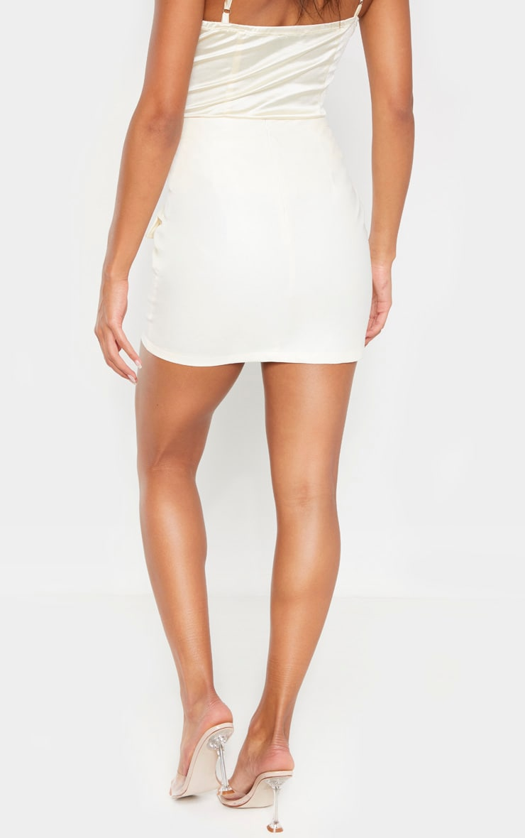 Cream Faux Leather Zip Split Detail Mini Skirt 4