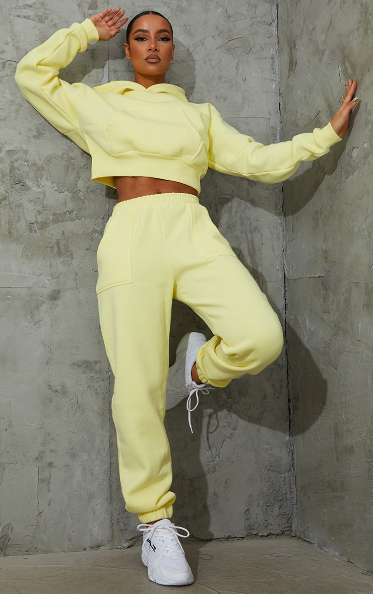 Yellow Pocket Front Cropped Hoodie 3
