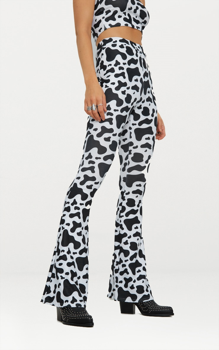 White Cow Print Slinky Flared Trousers 2