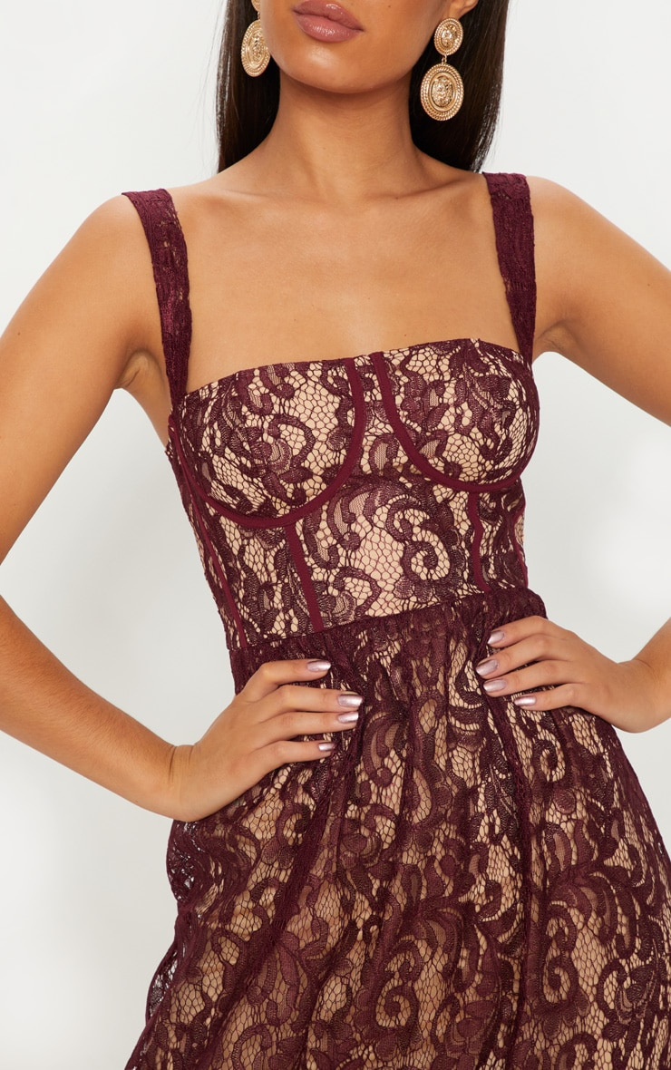 Burgundy Lace Cup Detail Floaty Maxi Dress 4