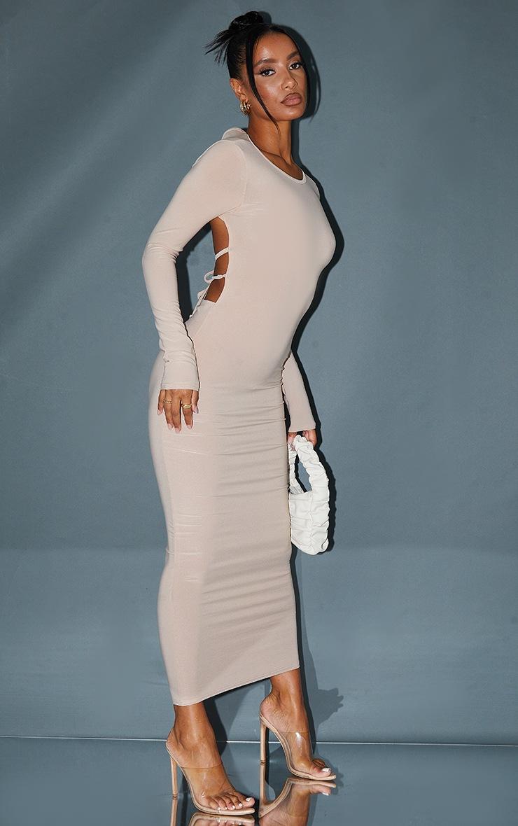 Stone Slinky Long Sleeve Open Tie Back Midaxi Dress 3