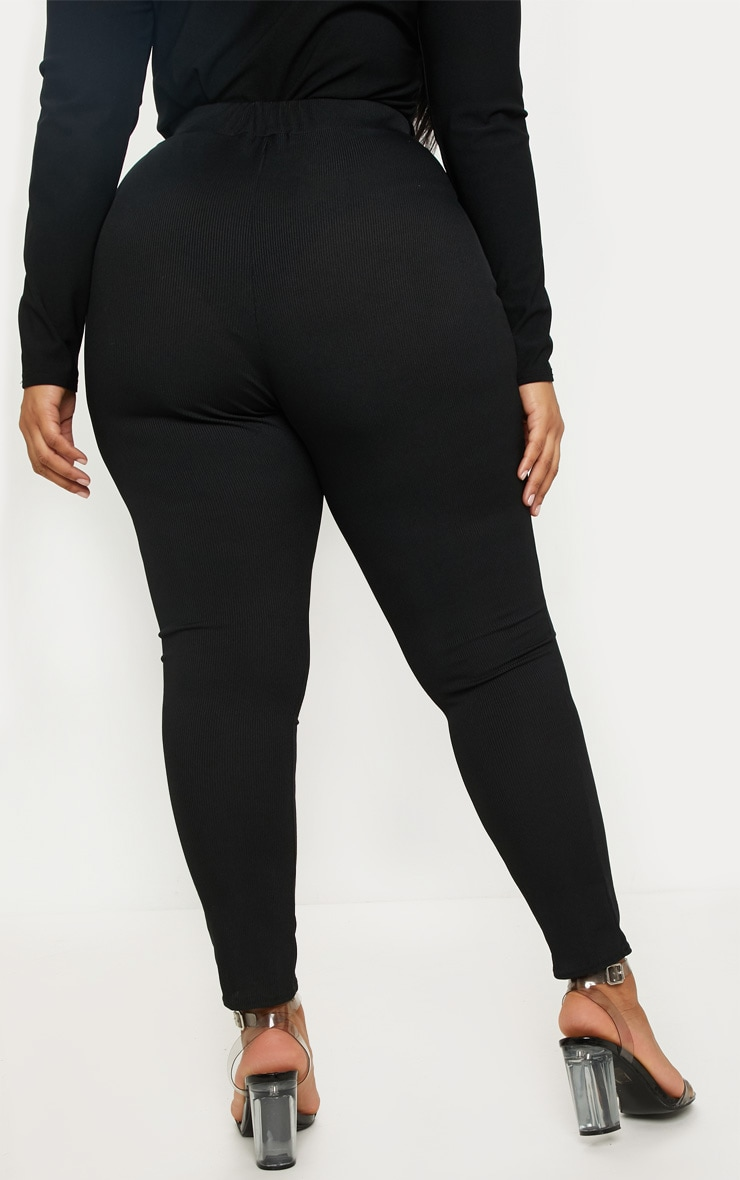 Plus Black Ribbed High Waist Leggings 4