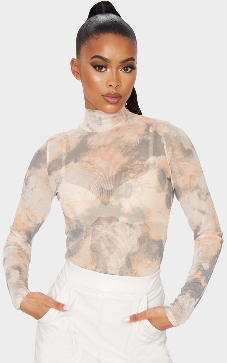 Brown High Neck Marble Printed Mesh Long Sleeve Top 1