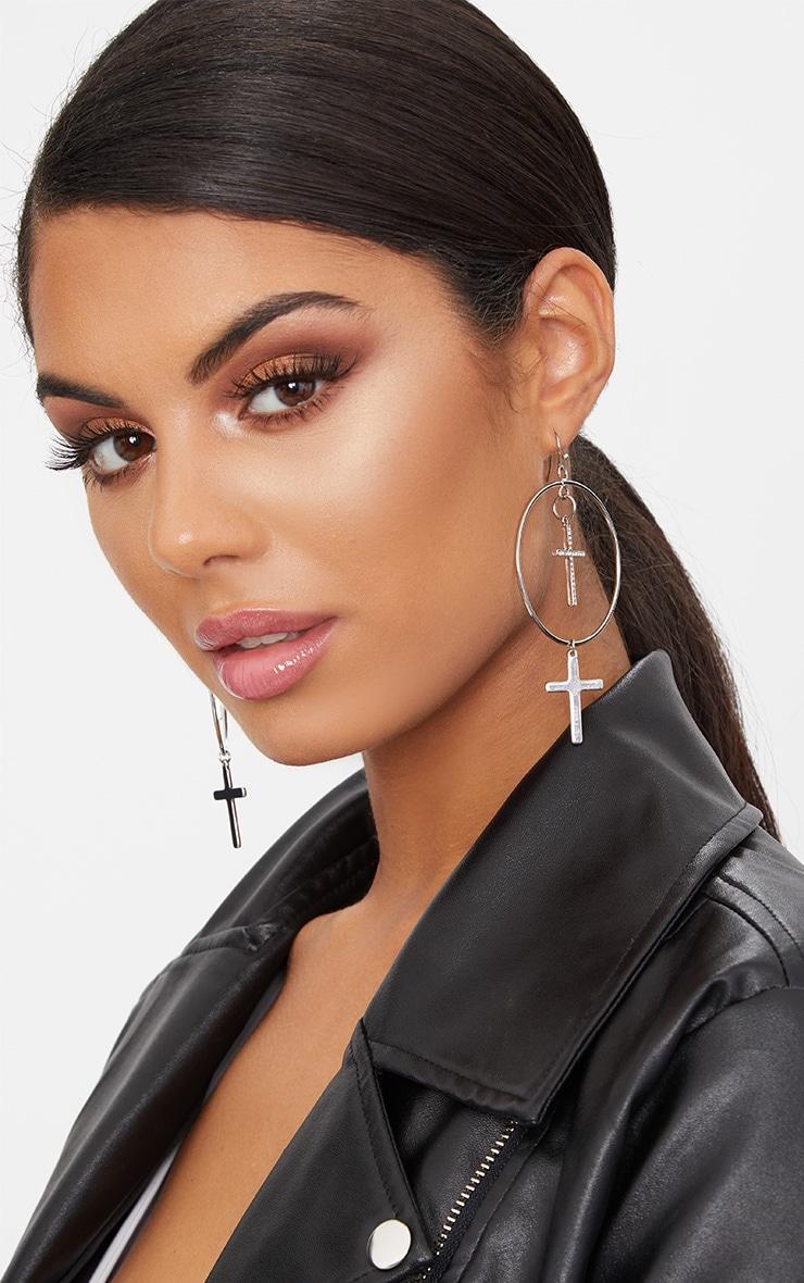 Silver Double Cross Hoop Earrings