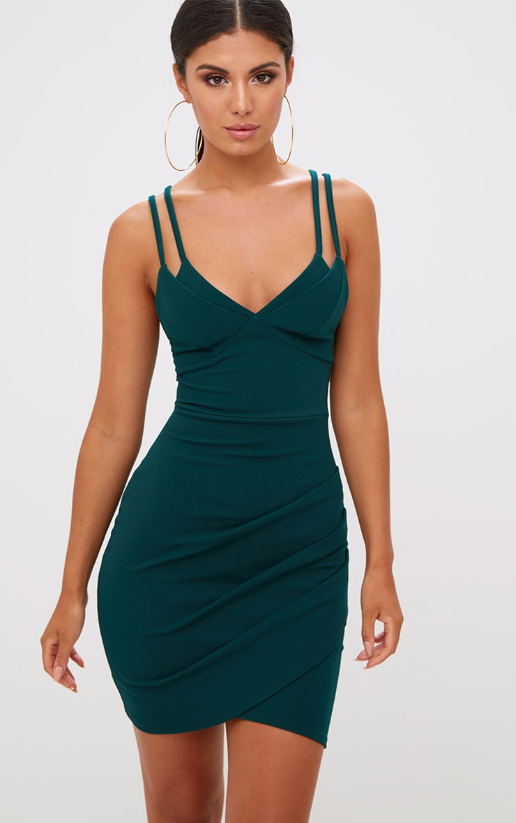 Emerald Green Double Strap Wrap Skirt Bodycon Dress