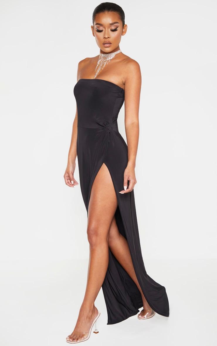 Black Bandeau High Slit Maxi Dress  4