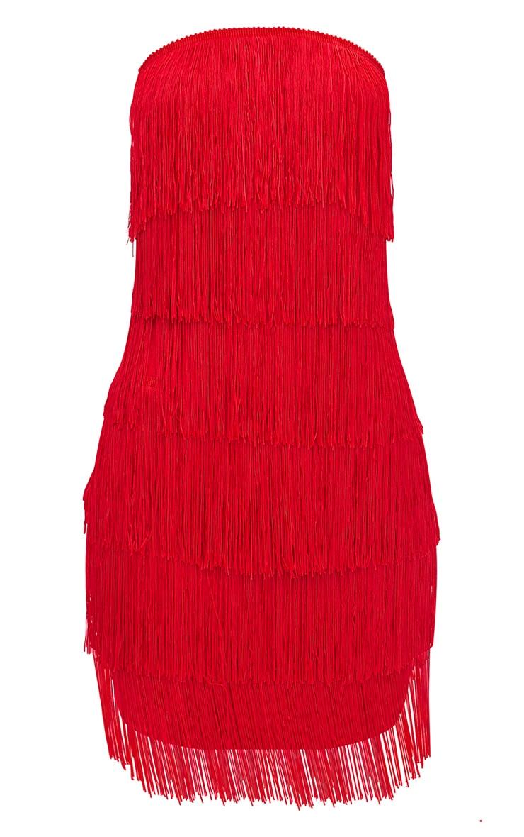 Red Tassel Detail Bandeau Bodycon Dress 3