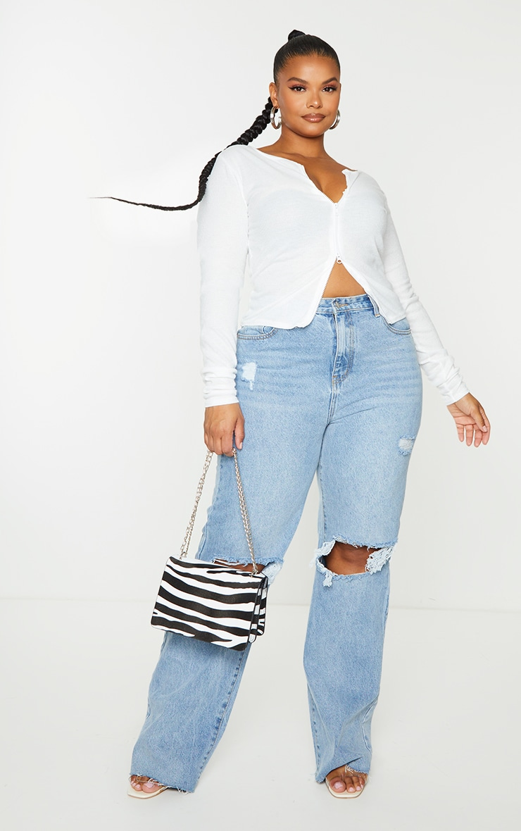 Plus Cream Soft Brushed Rib Double Zip Front Top 1