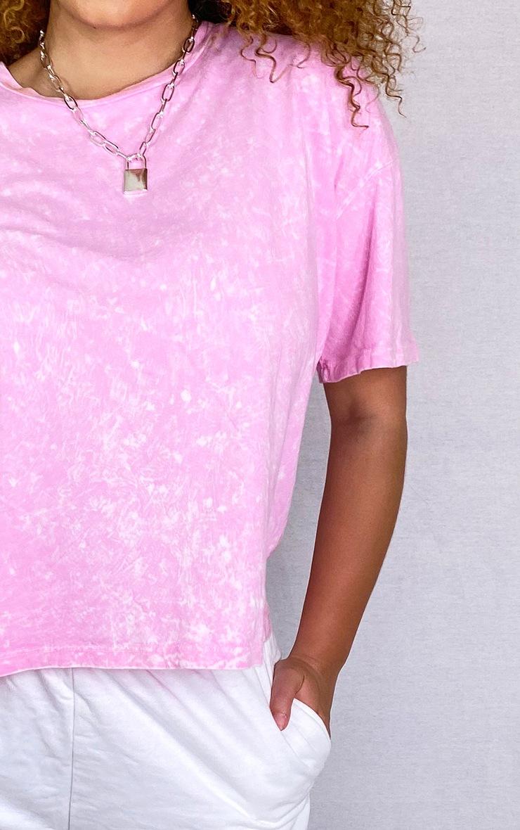 Plus Pink Acid Wash Oversized T Shirt 4