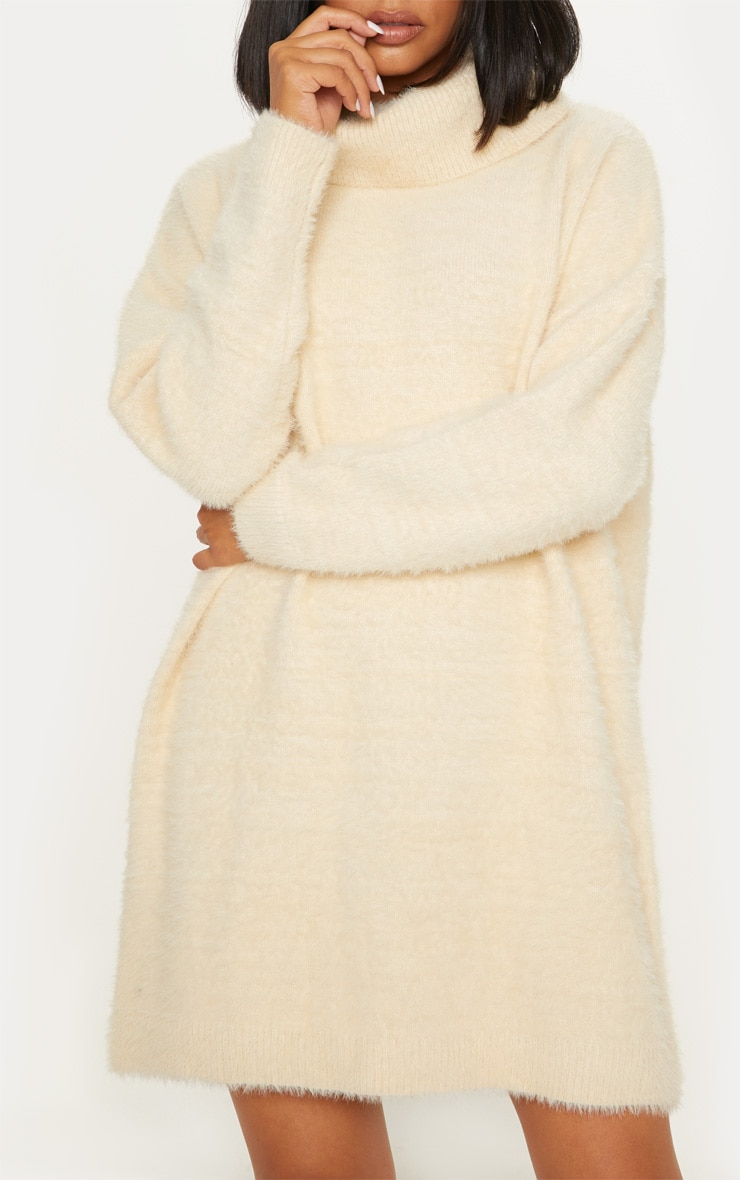 Cream Knitted High Neck Jumper Dress 5