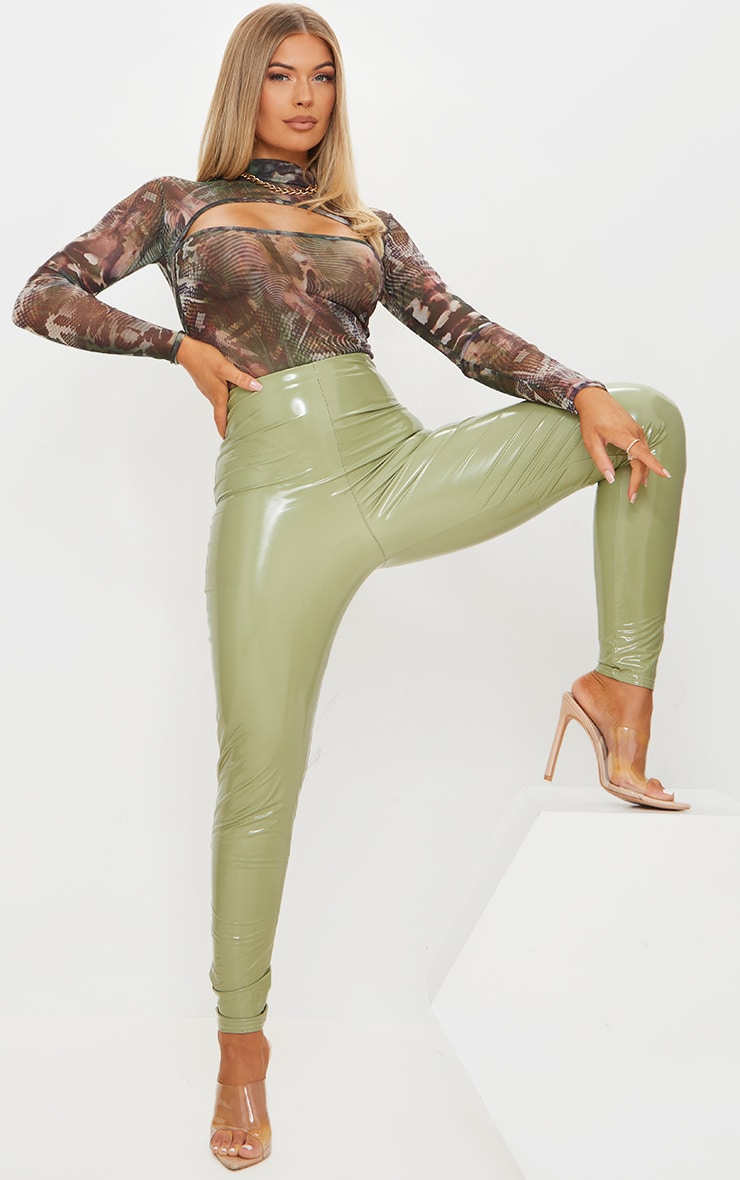 Green Abstract Printed Mesh Cut Out Long Sleeve Bodysuit 3