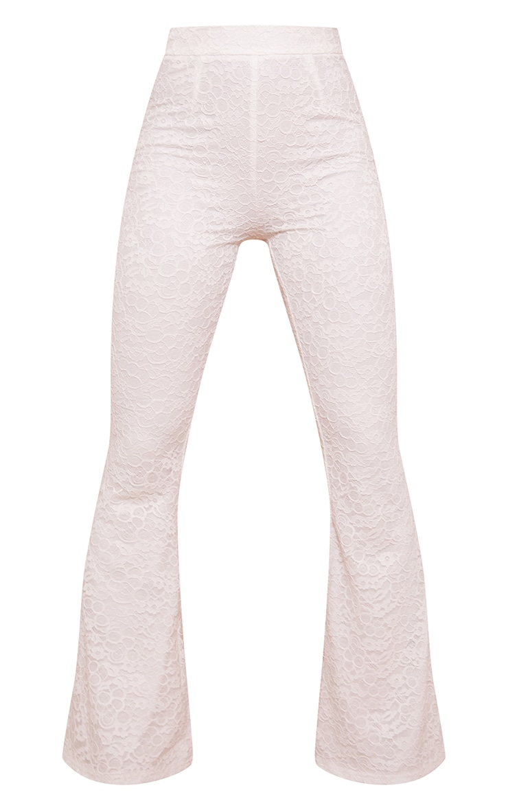 White Woven Lace High Waisted Flared Pants 5