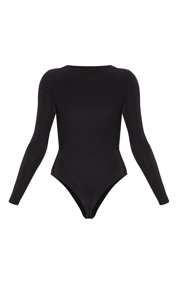 Black V Neck Slinky Bodysuit 4