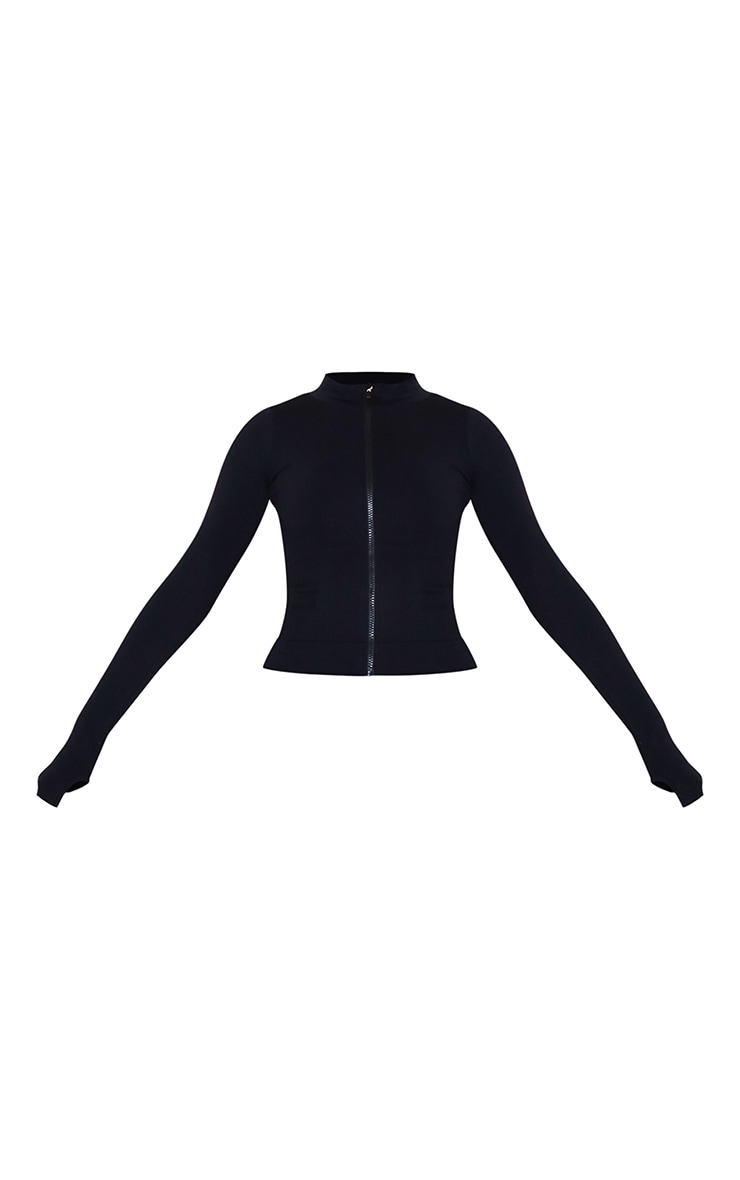 PRETTYLITTLETHING - Veste côtelée noire détail sans coutures 5