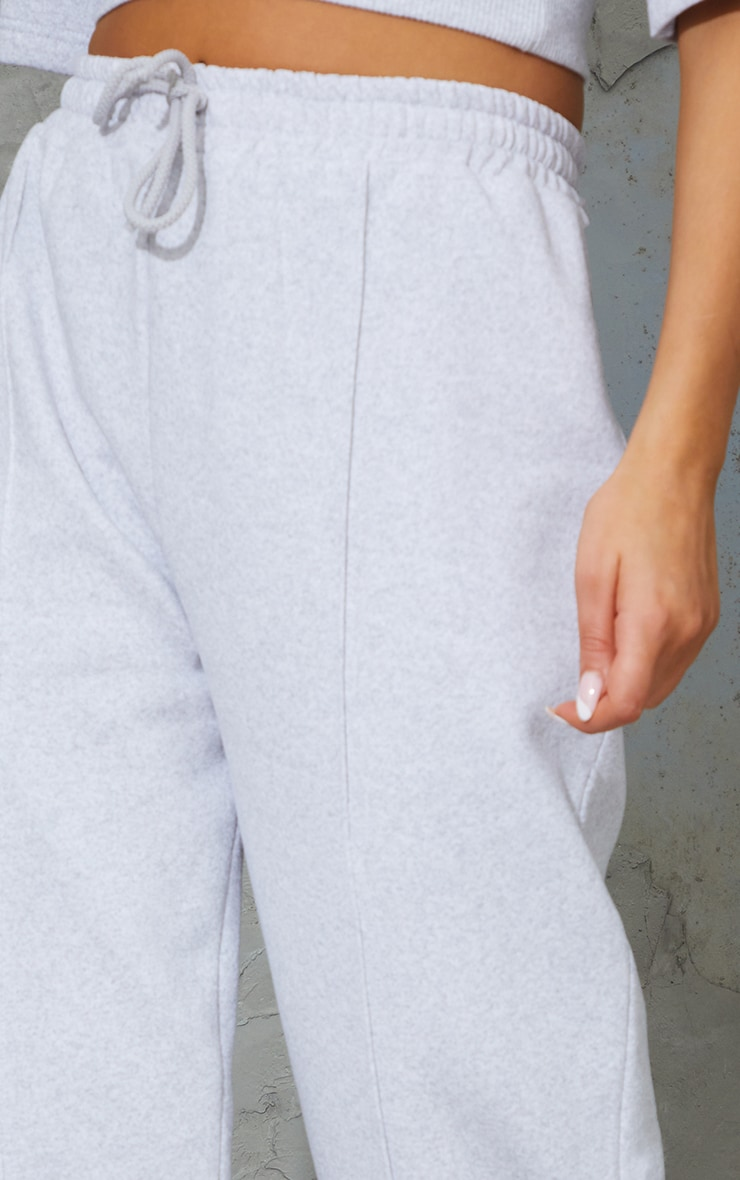 Ash Grey Seam Detail Wide Leg Joggers 4