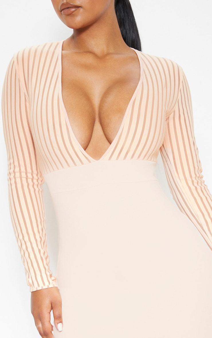 Nude Mesh Stripe Detail V Plunge Bodycon Dress 5