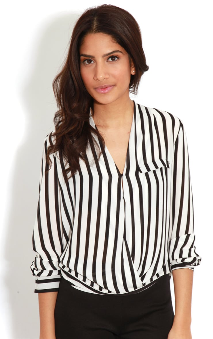 Rosie Monochrome Striped Cross-Over Blouse 4