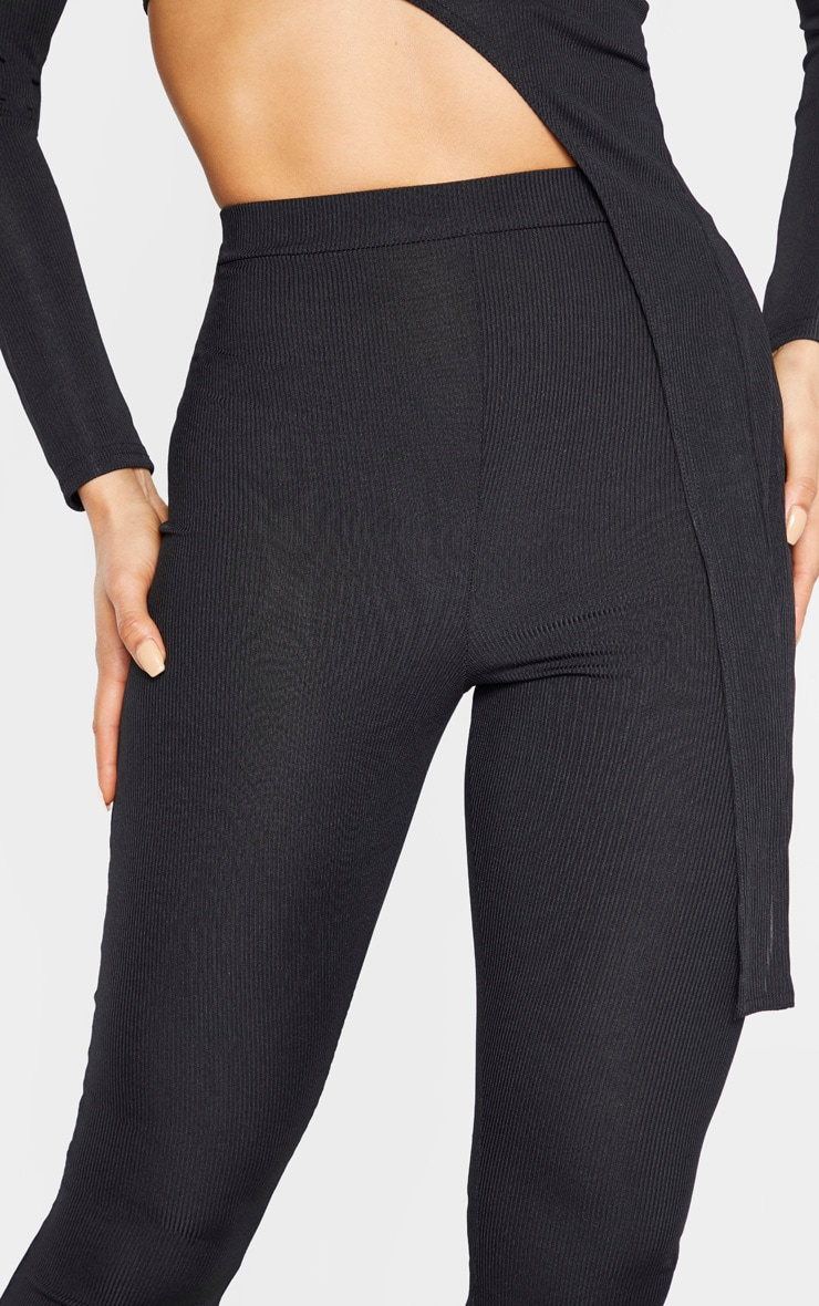 Tall Black Ribbed Flared Trousers 4