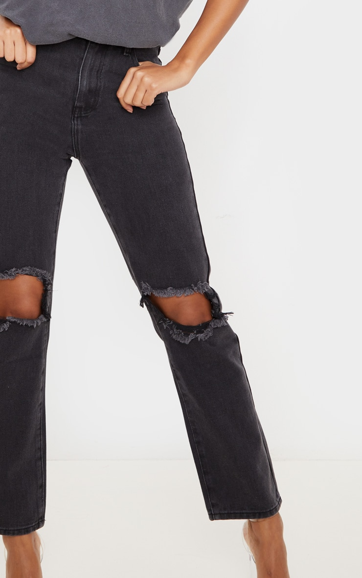 PRETTYLITTLETHING Washed Black Knee Rip Straight Leg Jean 5