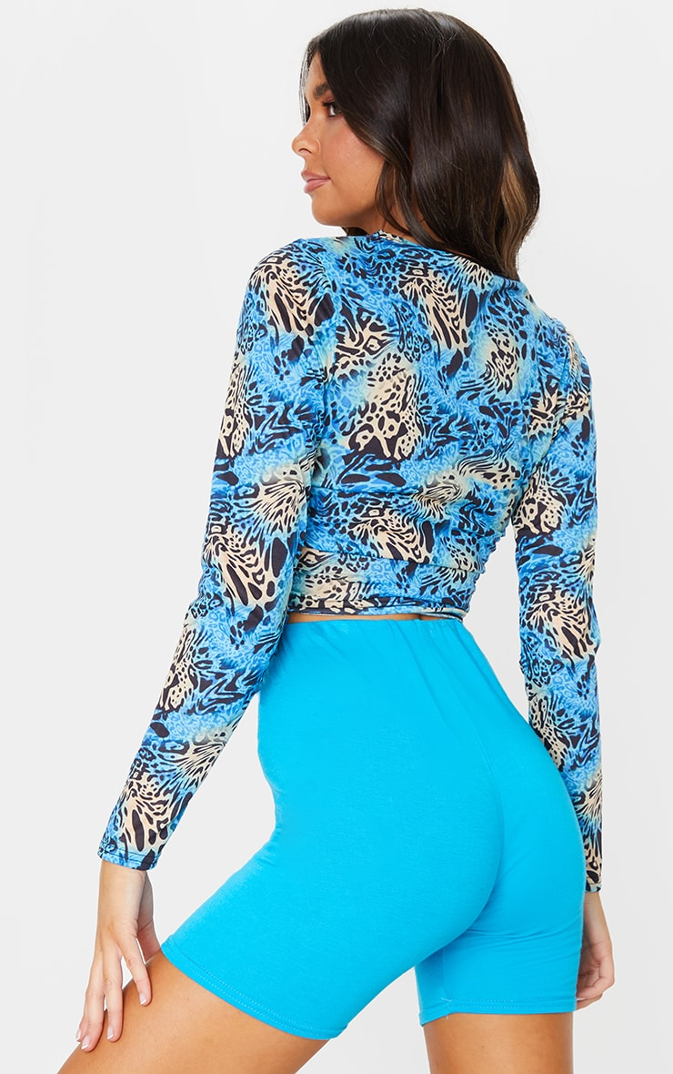 Blue Printed Jersey Ruched Side Long Sleeve Top 2