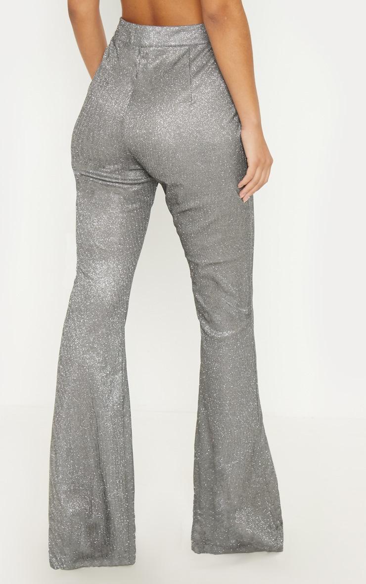 Silver Front Seam Glitter Flared Trouser 4