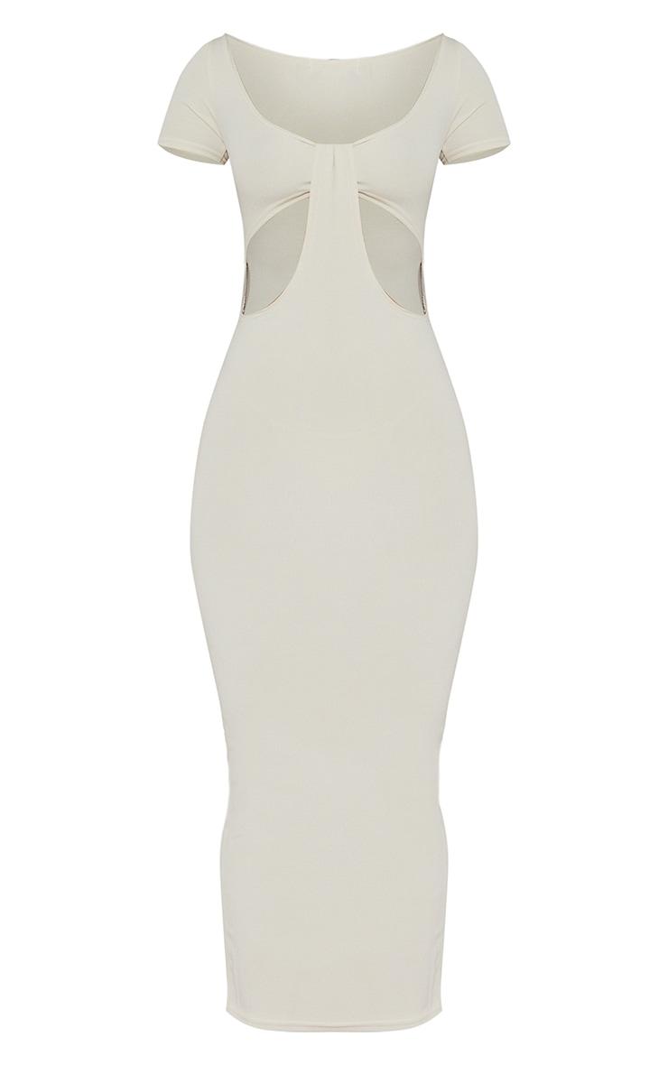 Oatmeal Rib Cut Out Detail Short Sleeve Maxi Dress 5