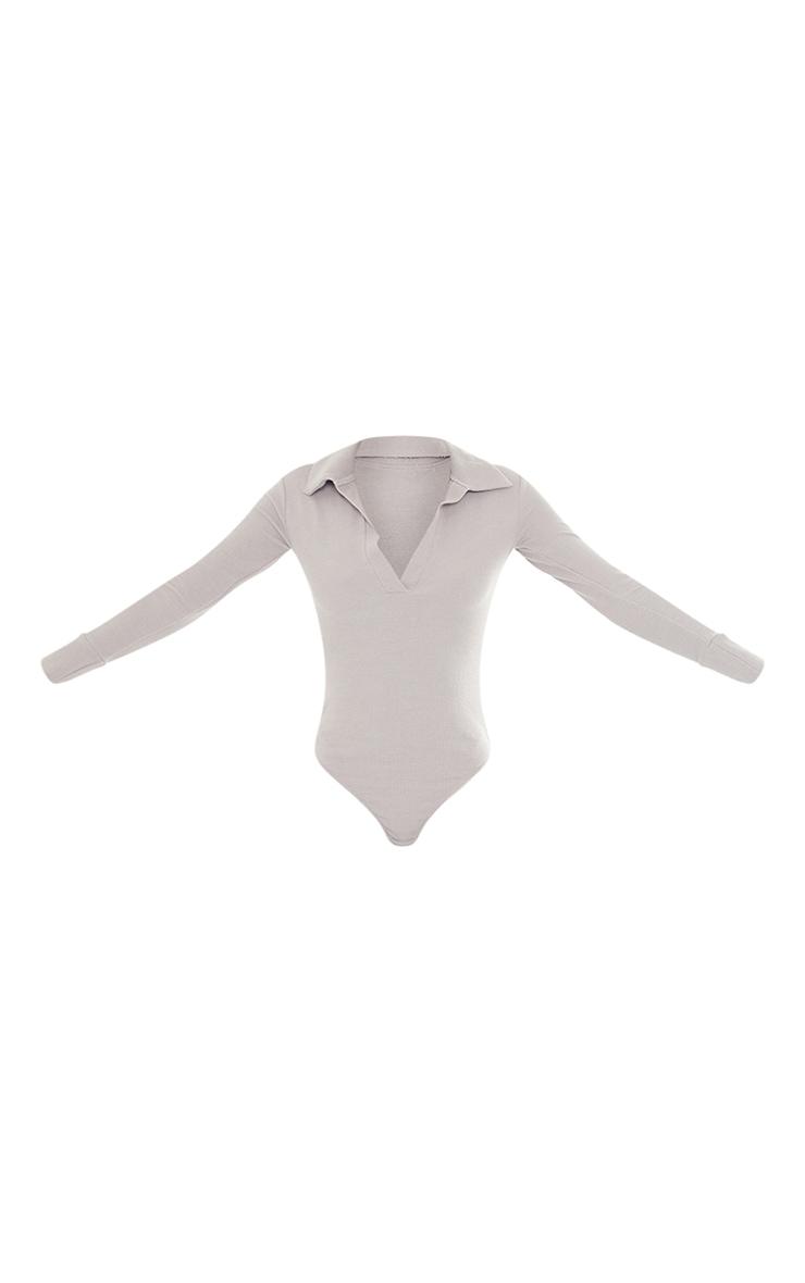 Tall Grey Waffle Rib Long Sleeve Polo Bodysuit 5