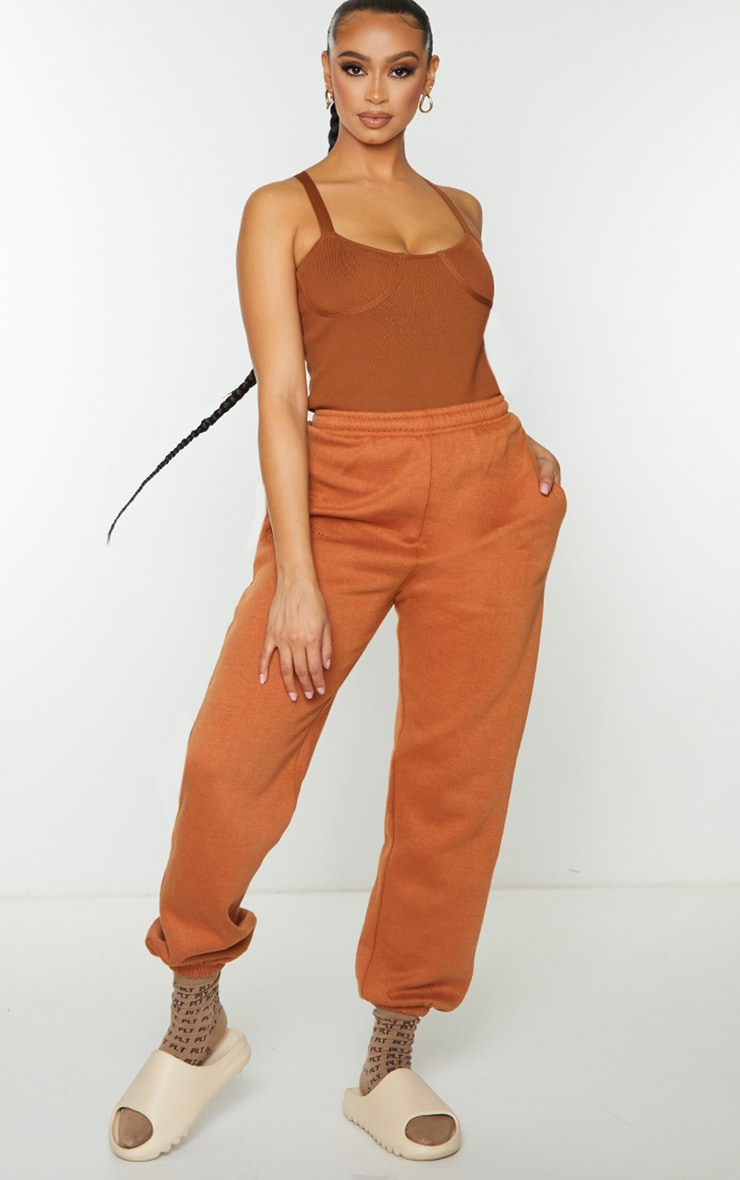 Rust Ribbed Bandage Knitted Cup Detail Bodysuit 3