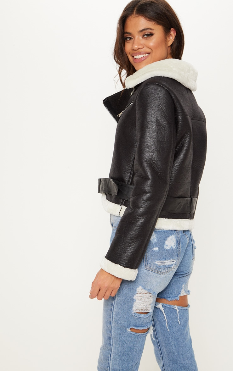Black Contrast Faux Fur Collar Cropped PU Aviator  2