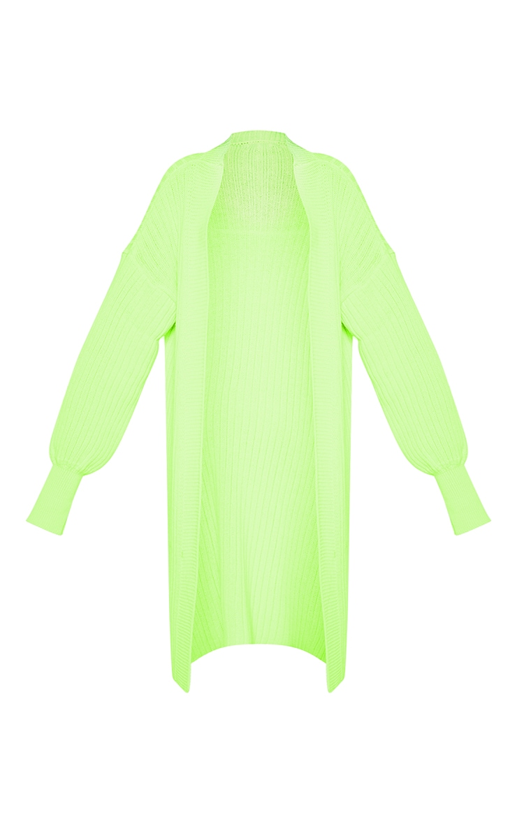 Lime Ribbed Knitted Midi Cardigan  3