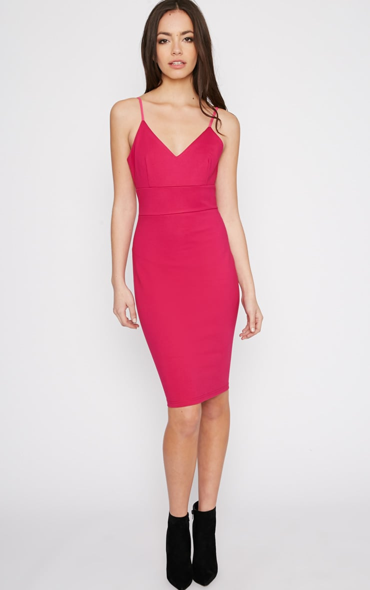 Zoey Hot Pink Strappy Bodycon Dress 3