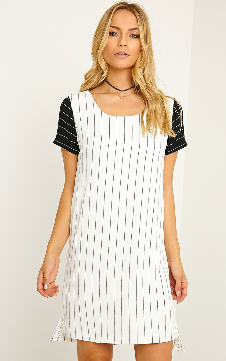 Amberly White Pinstripe Shift Dress 3