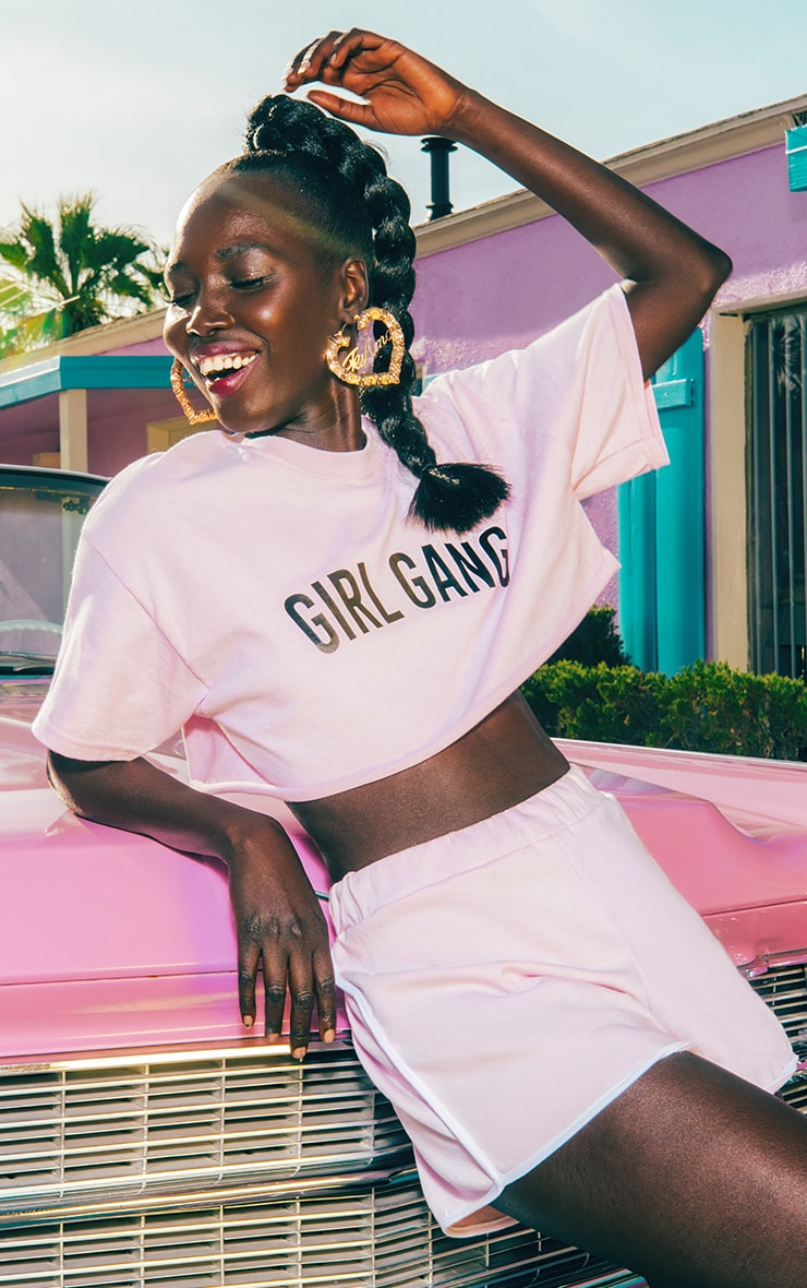 Girl Gang Cropped T Shirt Baby Pink 1