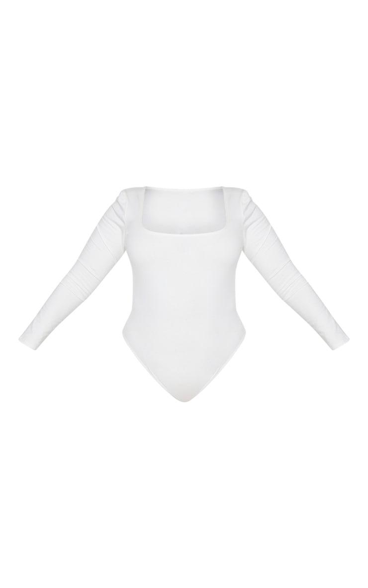 Plus Cream Cotton Squared Neck Bodysuit 5