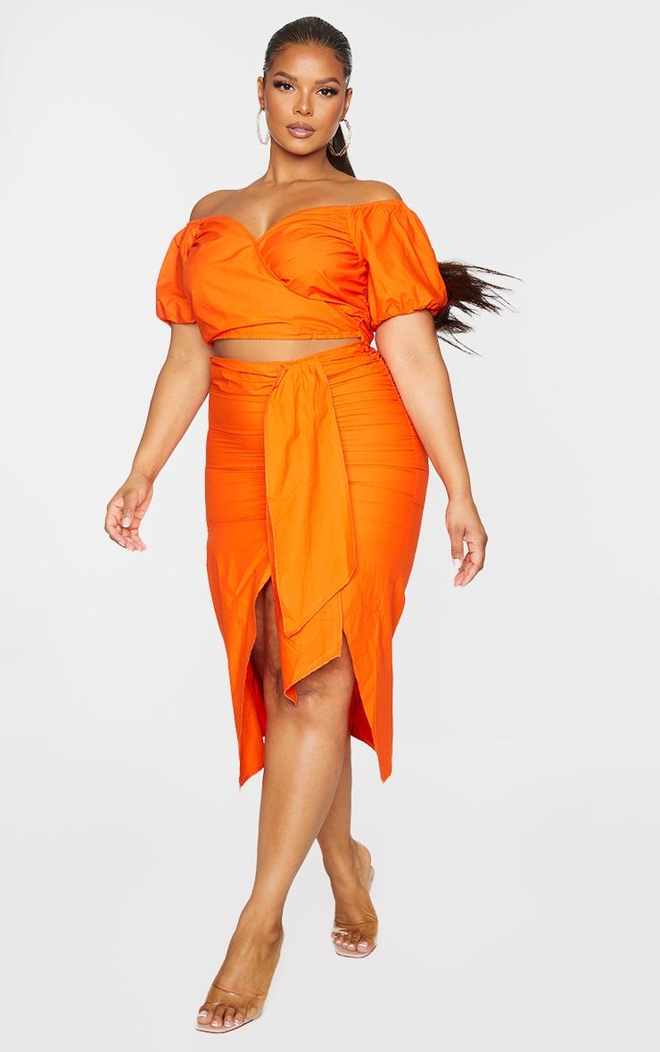 Plus Orange Woven Cut Out Wrap Dress 3