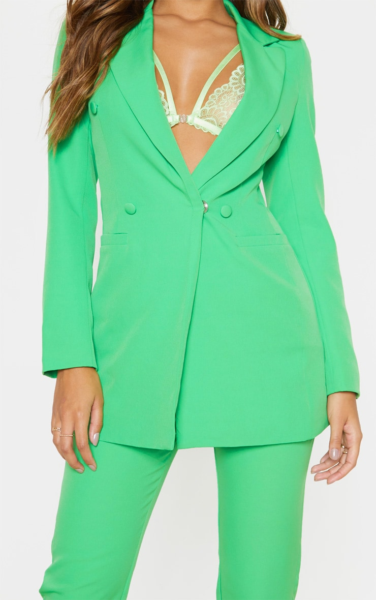 Bright Green Double Breasted Woven Blazer    5
