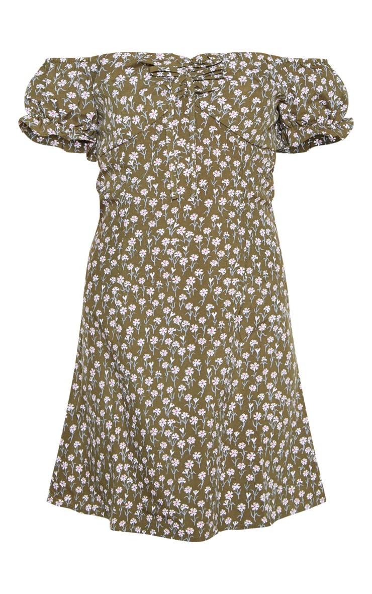 Green Floral Tie Bardot Shift Dress 3
